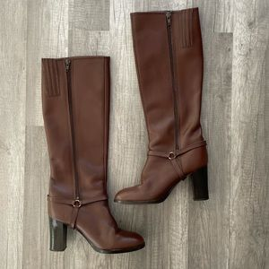 Leather Brown Knee Hight Boots Made In Italy